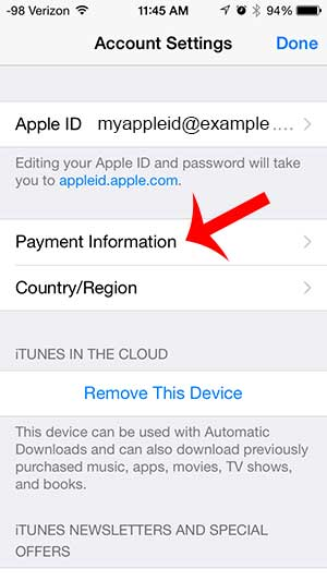 how to update payment information for itunes on the iphone