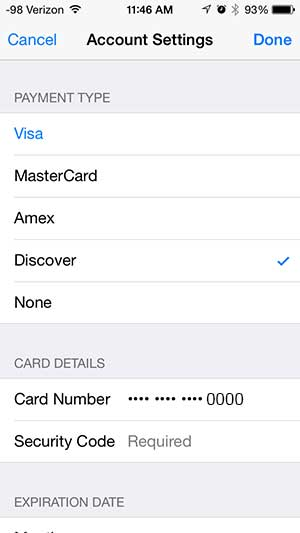 enter the payment information, then touch the done button