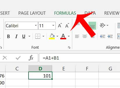 click the formula tab