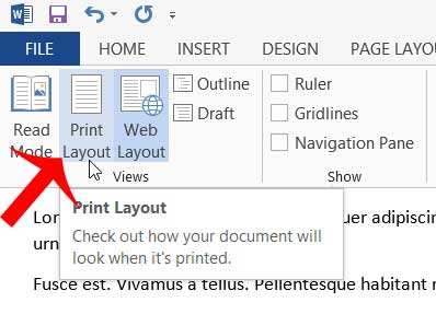 why can't I see the header in word 2013?