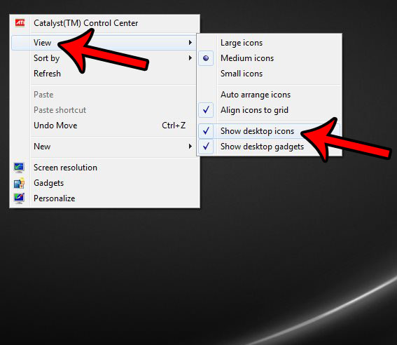 how to hide desktop icons in windows 7