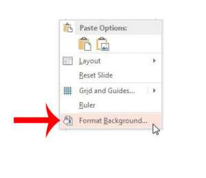 select the format background option