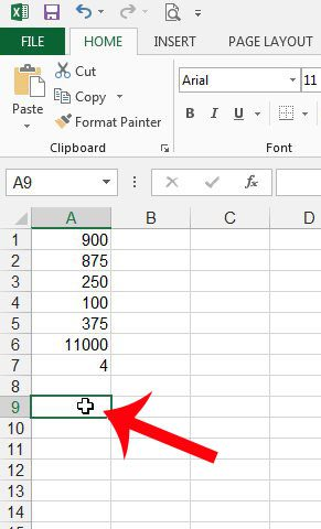 select the cell where you will display the median