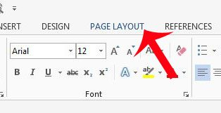 click the page layout tab