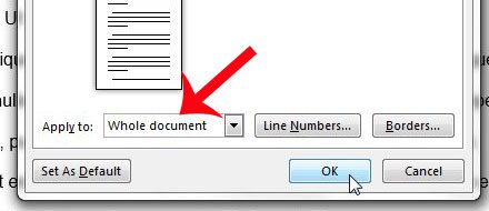 apply to the whole document, then click OK