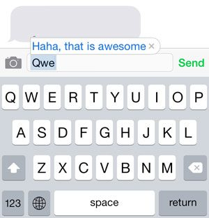 example of a keyboard shortcut on the iphone