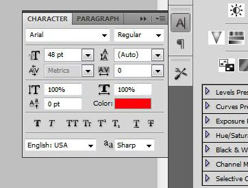 use the character panel to make adjustments