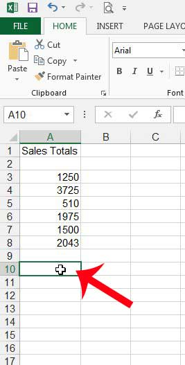 select the cell where you want to display the average