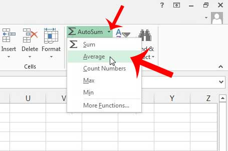 click the arrow to the right of autosum, then click average