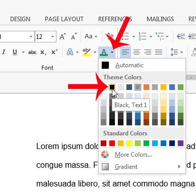 click the font color button and choose a color