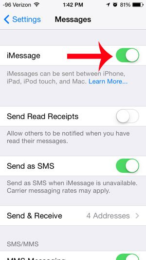 touch the button to the right of imessage