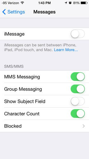 imessage is turned off