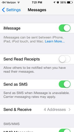 iphone messages menu