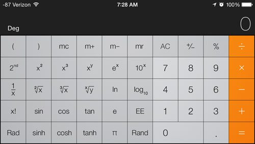 rotate the screen to display the scientific calculator functions