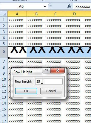 enter a new row height
