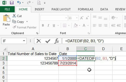 difference between dates in excel