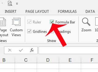 check the box to the left of formula bar