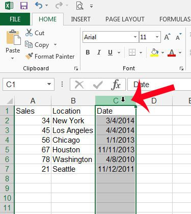 select the date column