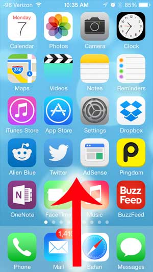swipe up from the bottom of the screen to open the control center