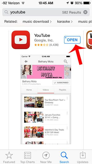 open the youtube app