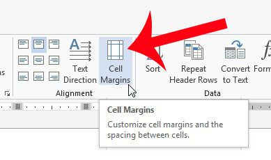 click the cell margins button