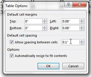 choose to allow spacing between cells