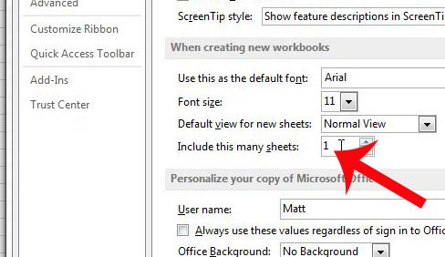 how to change the number of sheet tabs in a default excel 2013