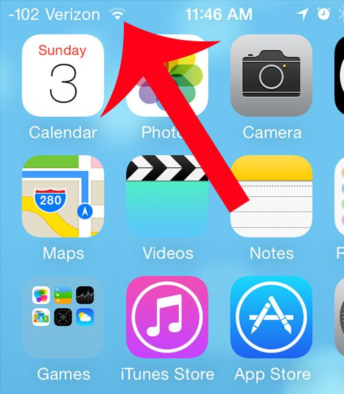 the wi-fi icon on the iphone