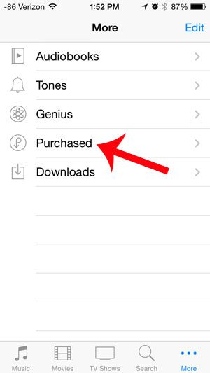select the purchased option