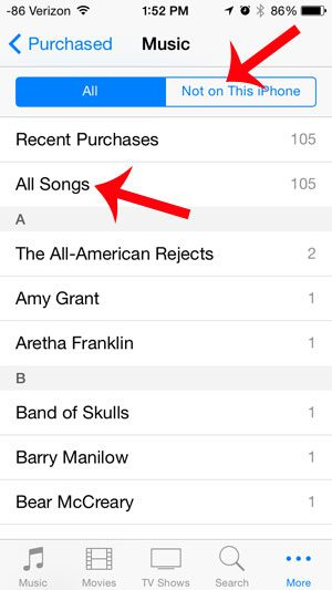 select not on this iphone, then all songs