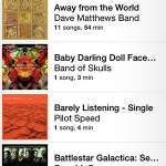 listing of songs by album on iphone