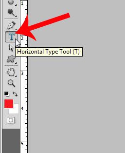 click the horizontal type tool