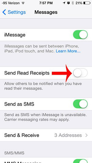 turn off the send read receipts option
