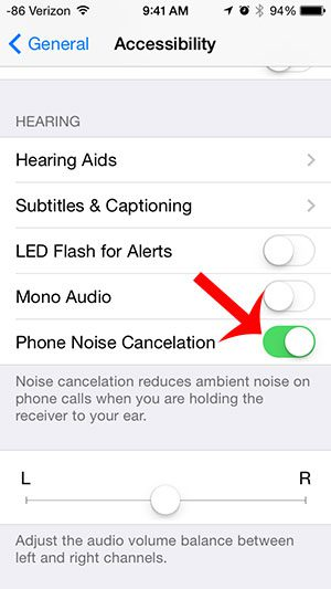 turn on the phone noise cancelation option