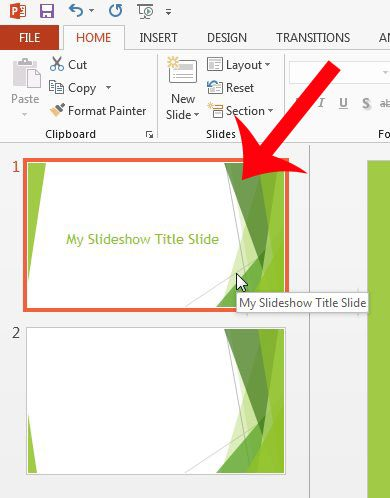 select the slide to save as an image