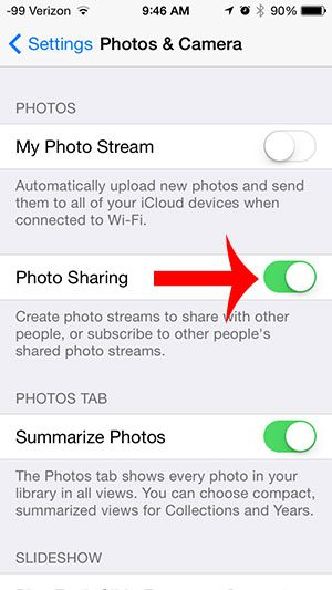 turn on the photo sharing option