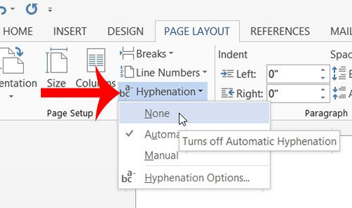 How to turn off hyphenation in word 2013 solve your tech click the none option under hyphenation ccuart Images