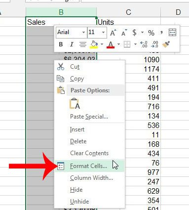 right-click the selected cells, then click format cells