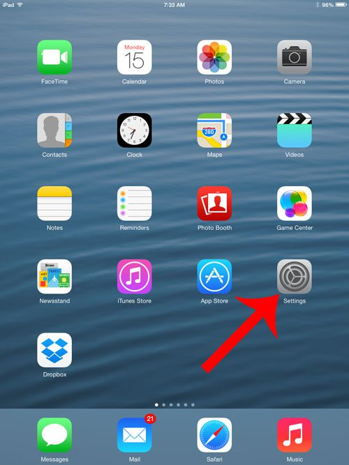 open the ipad settings menu