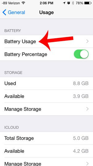 select the battery usage option