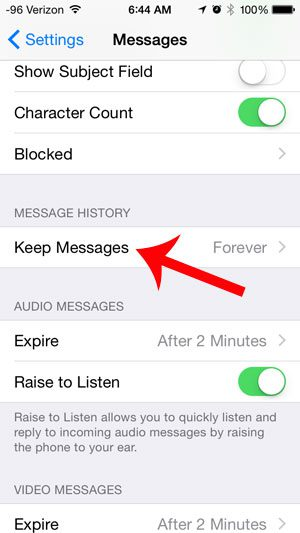 select the keep messages option