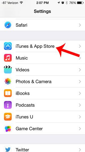 select the itunes and app store option