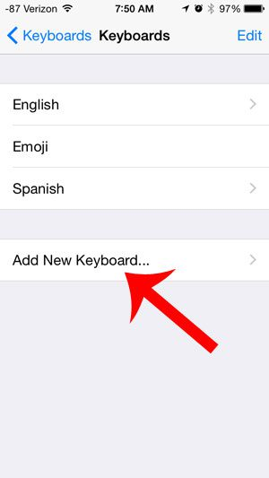 select the add new keyboard option