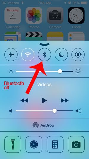 bluetooth off in control center