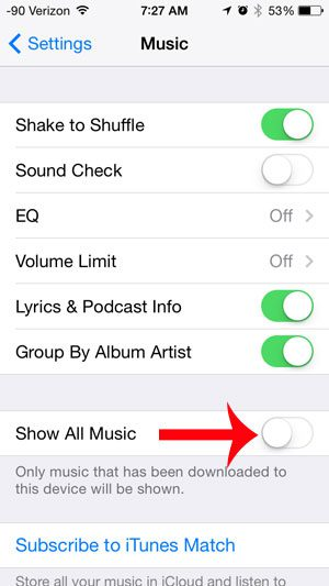 turn off the show all music option