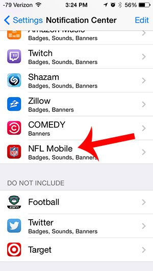 select the nfl mobile option