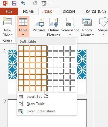How to insert table in powerpoint