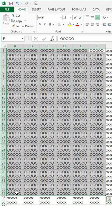 select the cells to print