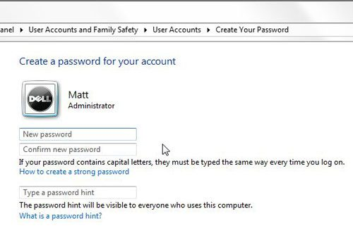 enter and re-enter your password