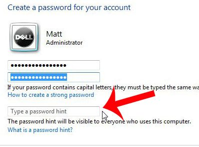 create a password hint